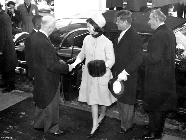Eisenhower greeting President and Mrs. Kennedy