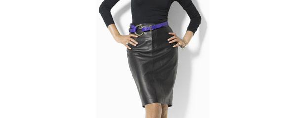 Ralph Lauren Addington Leather Skirt