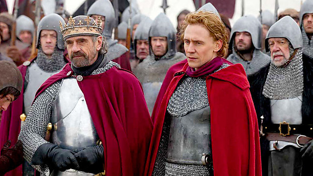 Jeremy Irons as Henry, Tom Hiddleston as Hal in Henry IV, The Hollow Crown.