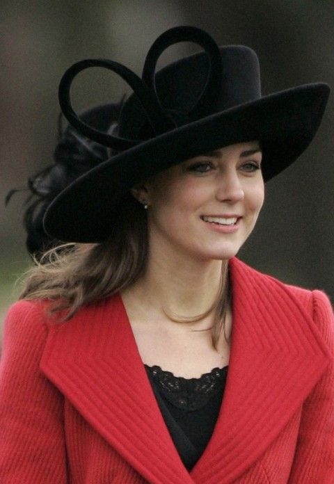 Black Philip Treacy hat worn by the Duchess of Cambridge, Kate Middleton.