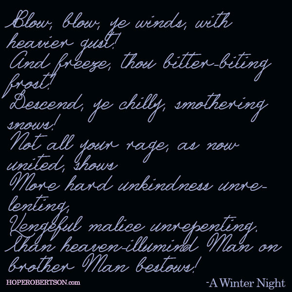 "An excerpt from ""Winter Night"" by Robert Burns."