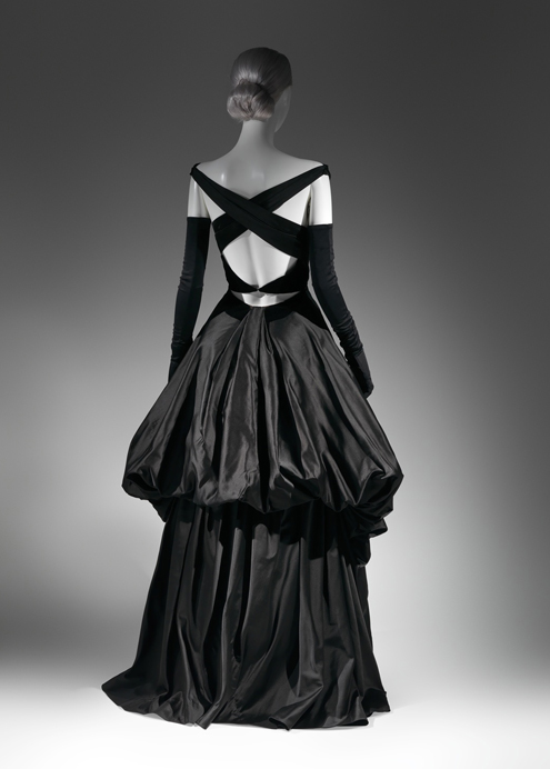 Charles James Evening Dress, 1948, Black silk satin and black silk velvet The Metropolitan Museum of Art, New York, Brooklyn Museum Costume Collection at The Metropolitan Museum of Art, Gift of the Brooklyn Museum, 2009; Gift of Millicent Huttleston Rogers, 1949 (2009.300.734)