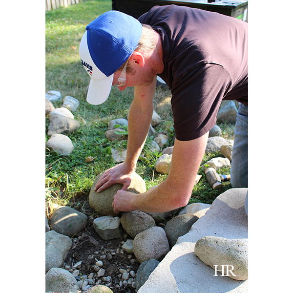 selecting stones for the dry lay bench