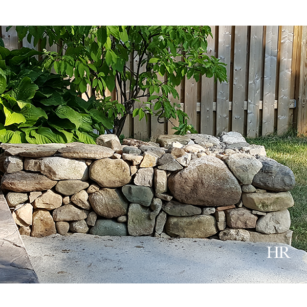 dry lay stone bench before the cap is poured