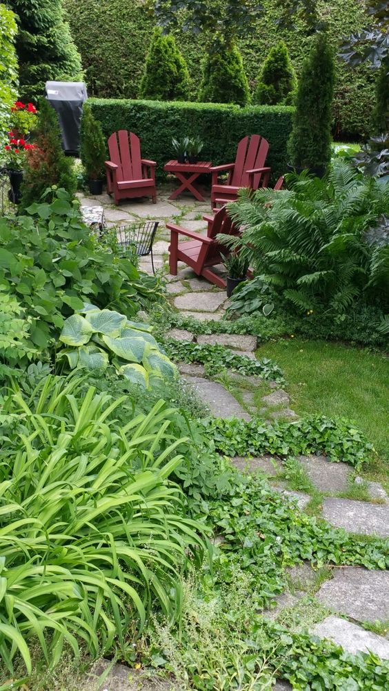 shade gardens with stone steps