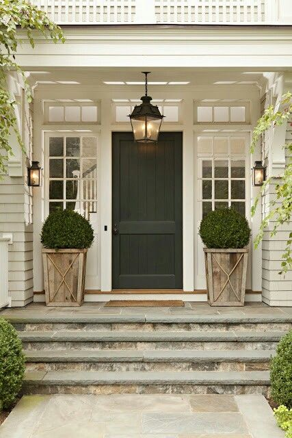 white home with deep green front door