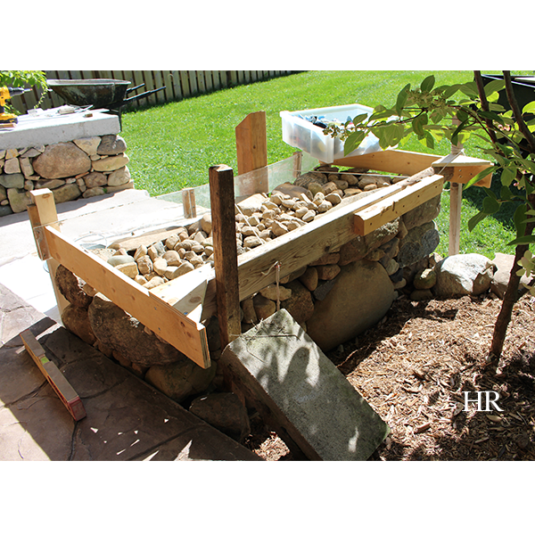 dry lay stone bench with form