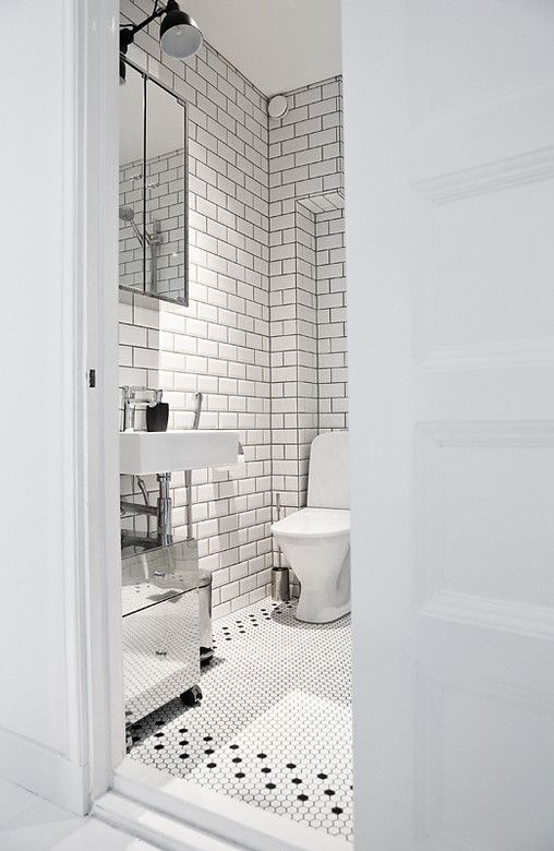 white tile with black grout