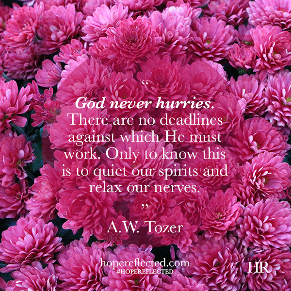 God never hurries A.W. Tozer quote Wednesday Wisdom