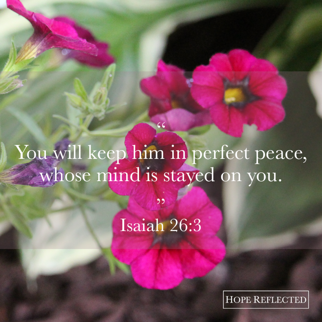 """You will keep him in perfect peace, whose mind is stayed on thee."" Isaiah 26:3 Hope Reflected 