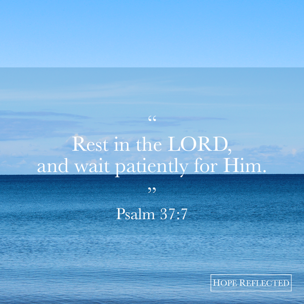 Rest in the LORD and wait patiently for Him Psalm 37:7 | Hope Reflected