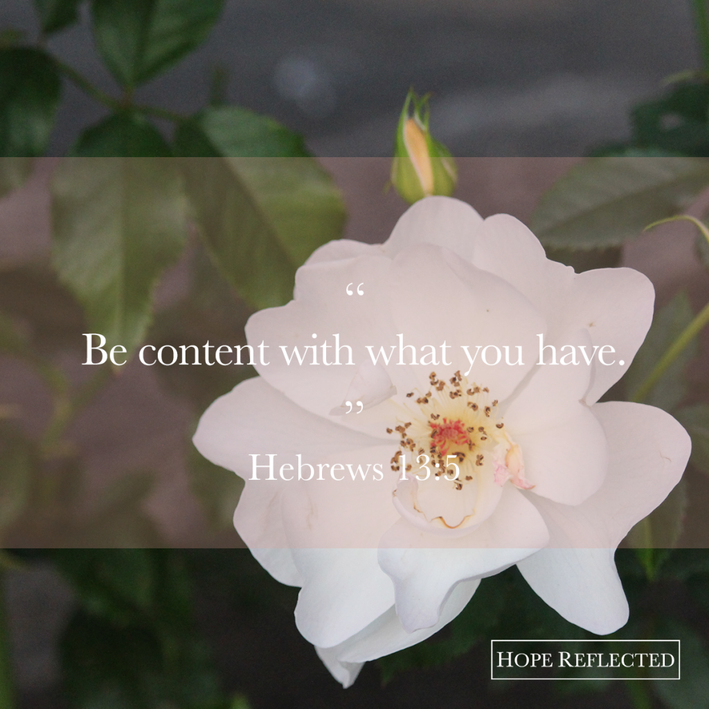 Be content with what you have. Hebrews 13:9 | See more at hopereflected.com