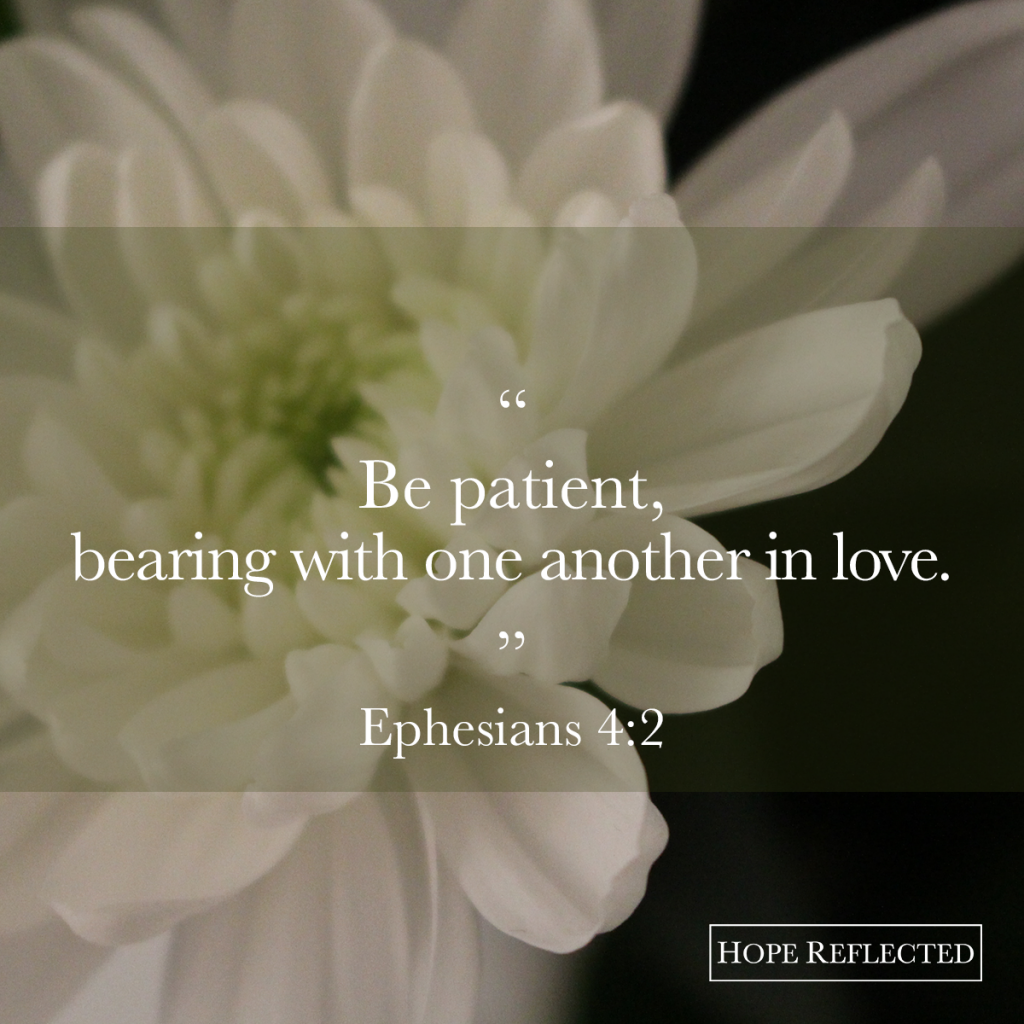 """""""Be patient, bearing with one another in love."""" Ephesians 4:2 