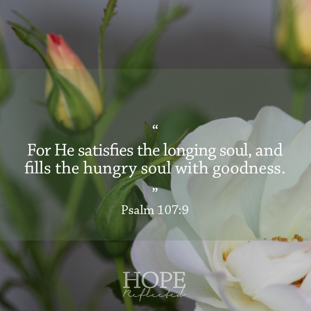 """""""For He satisfies the longing soul, and fills the hungry soul with goodness."""" (Psalm 107:9) Contentment 