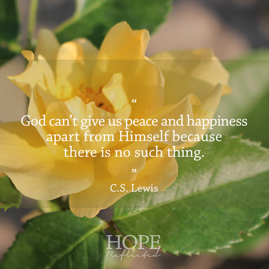 """God can't give us peace apart from Himself because there is no such thing."" C.S. Lewis 