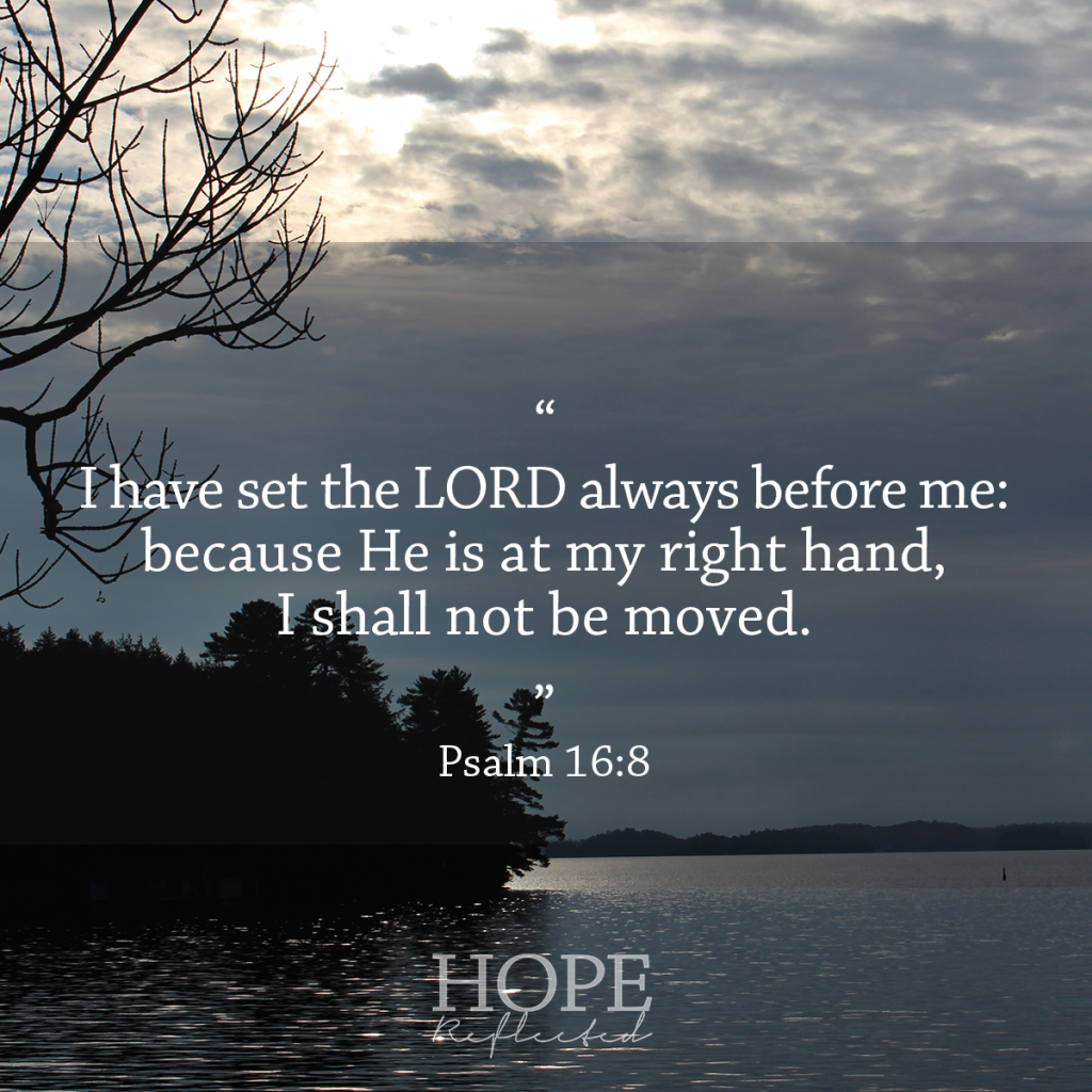 """I have set the LORD always before me; because He is at my right hand, I shall not be moved."" Psalm 16:8 