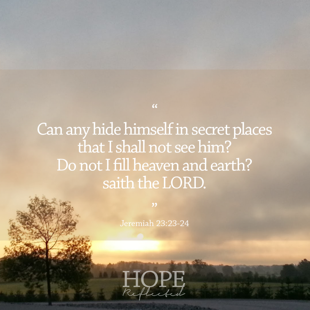 "You are not alone in your feelings of loneliness. ""Can any hide himself in secret places that I shall not see him? Do not I fill heaven and earth? saith the LORD."" (Jeremiah 23:23-24) 