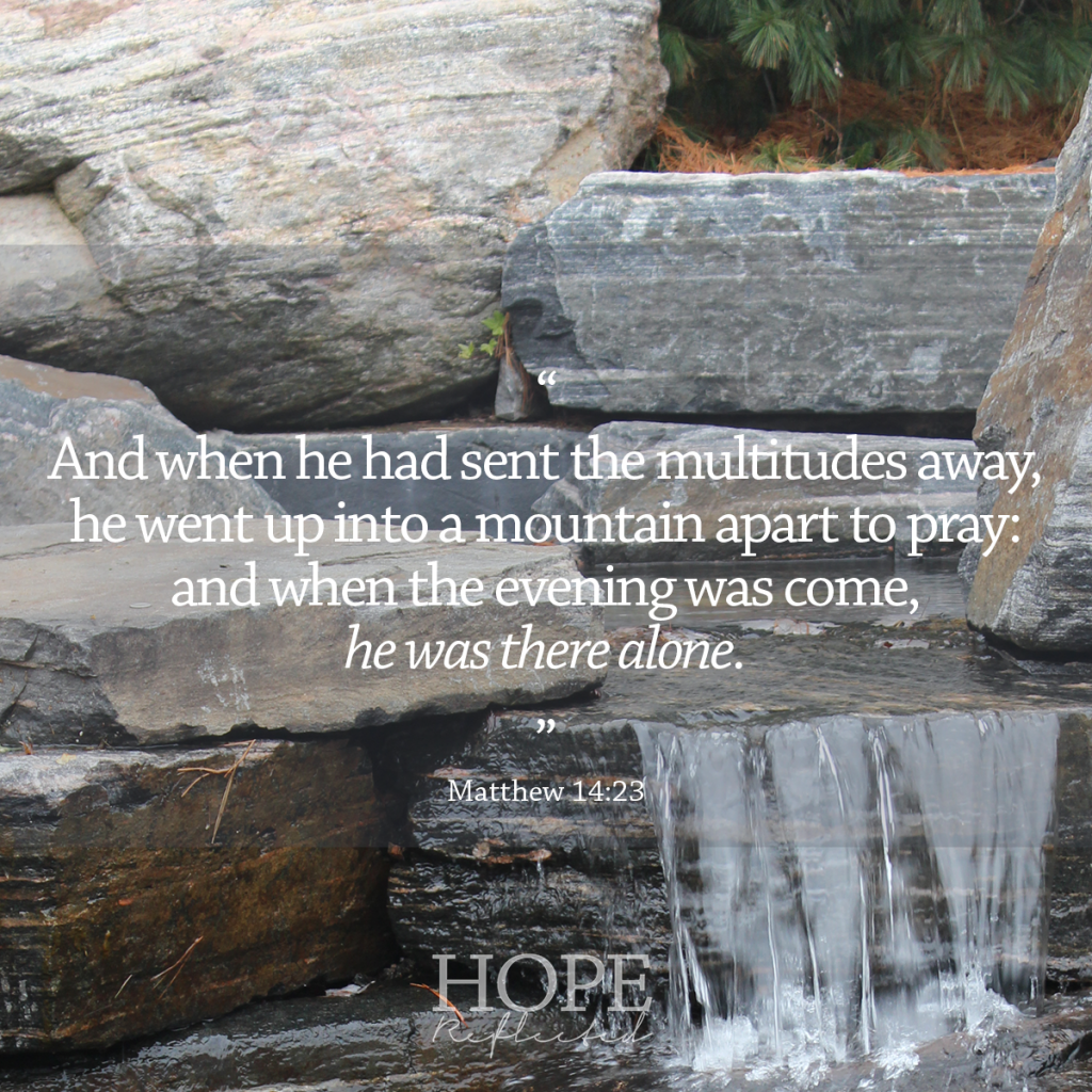 And when he had sent the multitudes away, he went up into a mountain apart to pray: and when the evening was come, he was there alone. (Matthew 14:23) | Time alone with God. Read more at hopereflected.com