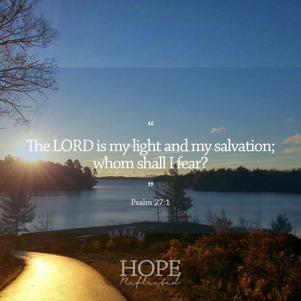 """""""The LORD is my light and my salvation; whom shall I fear?"""" (Psalm 27:1) 