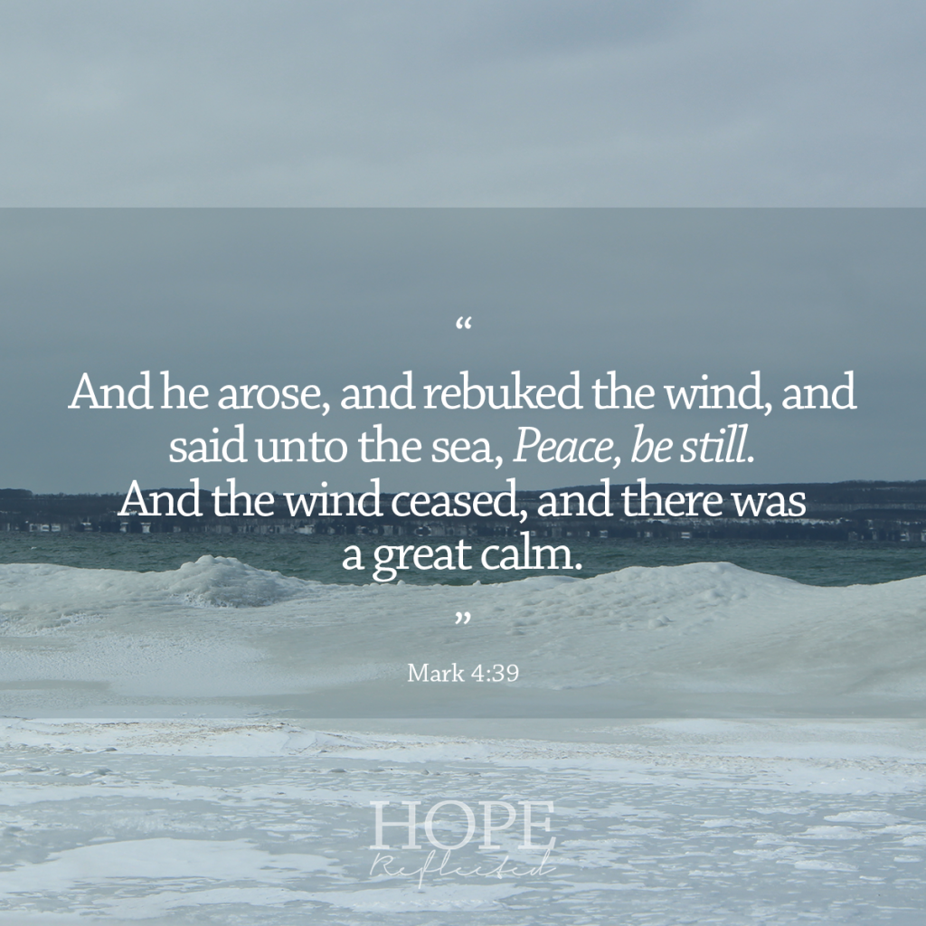 """""""And he arose, and rebuked the wind, and said unto the sea, Peace, be still. And the wind ceased, and there was a great calm. And he said unto them, Why are you so fearful? How is it that you have no faith?"""" (Mark 4:38-40) 