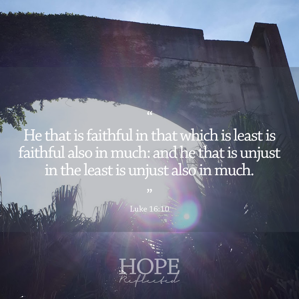 """""""He that is faithful in that which is least is faithful also in much: and he that is unjust in the least is unjust also much."""" (Luke 16:10)   The Significance of Small Things, read more at hopereflected.com"""