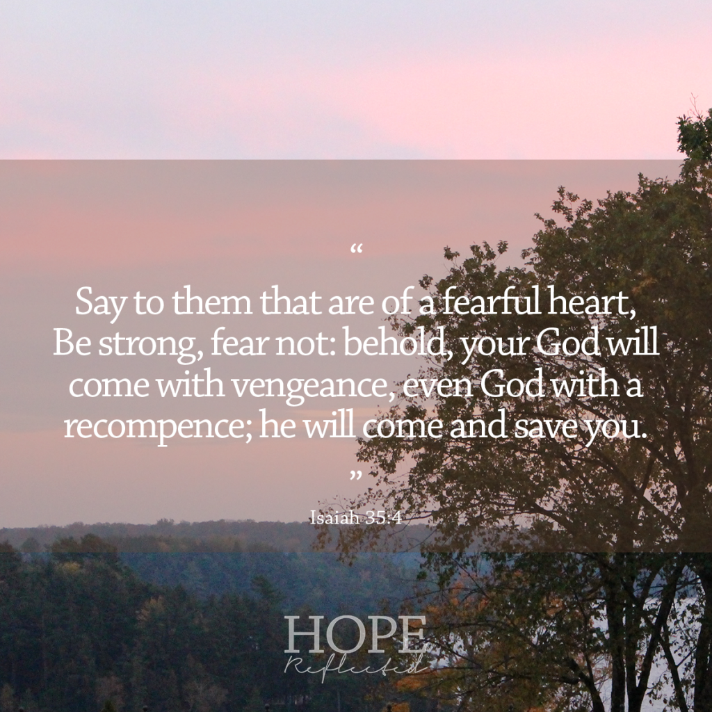"""Say to them that are of a fearful heart, Be strong, fear not: behold, your God will come with vengeance, even God with a recompence; he will come and save you."" (Isaiah 35:4) 