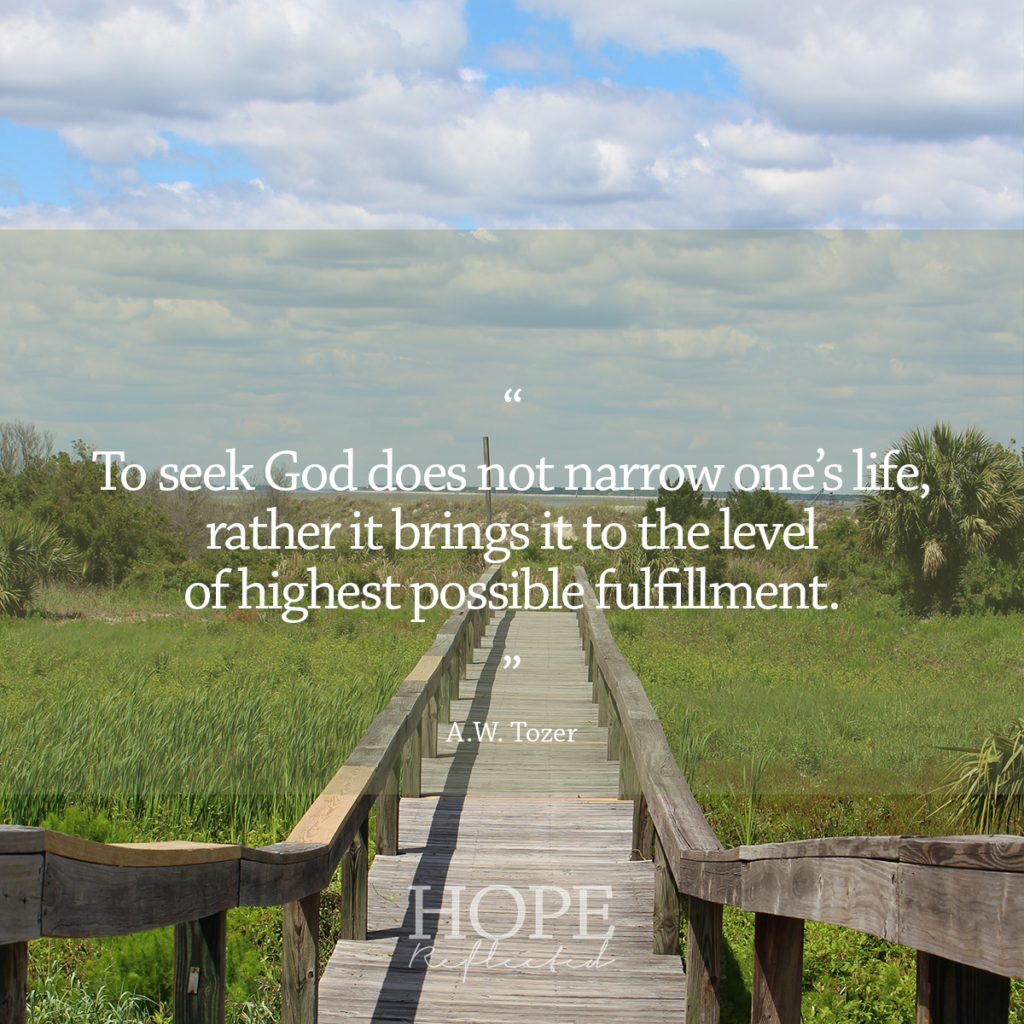 """To seek God does not narrow one's life, rather it brings it to the level of highest possible fulfillment."" (A.W. Tozer) 