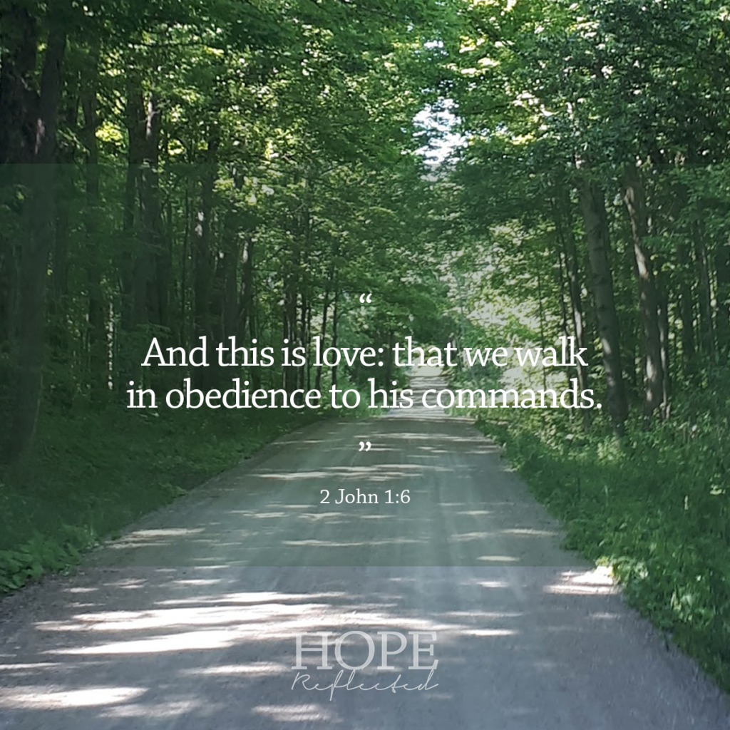 """And this is love: that we walk in obedience to his commands."" (2 John 1:6) 