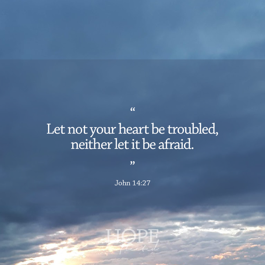"""""""Let not your heart be trouble, neither let it be afraid."""" (John 14:27)   Fear not, read more on hopereflected.com"""