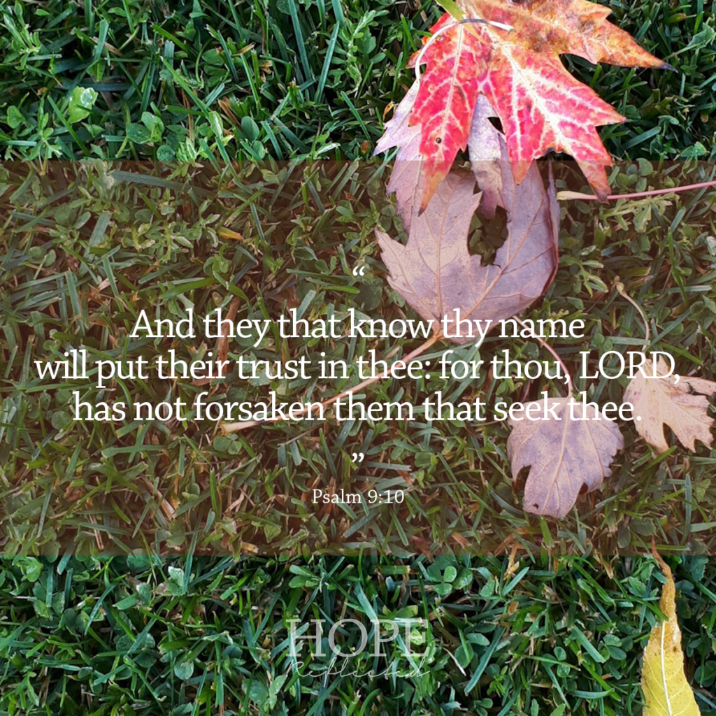 """And they that know thy name will put their trust in thee: for thou, LORD, has not forsaken them that seek thee."" Psalm 9:10 