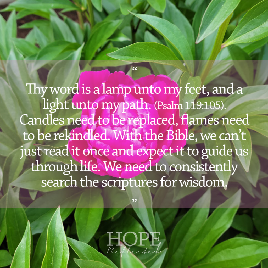 """""""Thy word is a lamp unto my feet, and a light unto my path."""" (Psalm 119:105). See more at hopereflected.com"""